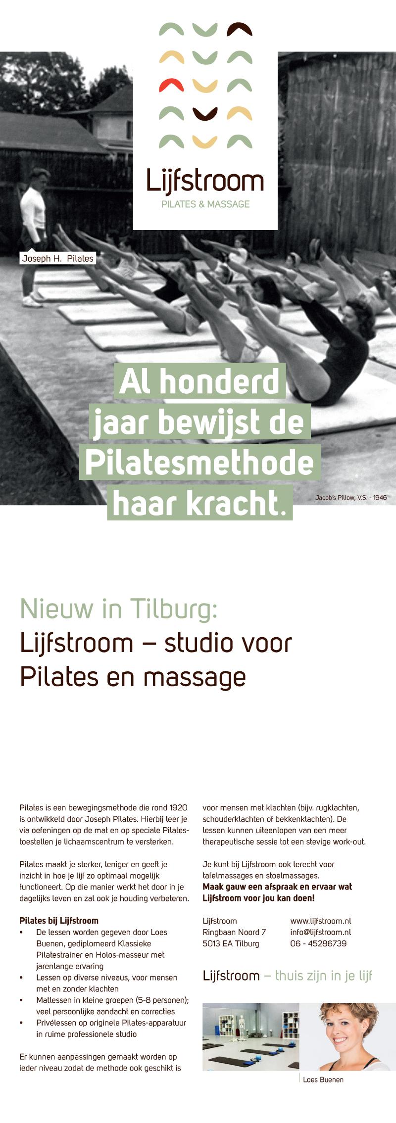 flyer Lijfstroom Pilates en massage tilburg Lijfstroom   Nieuw in Tilburg