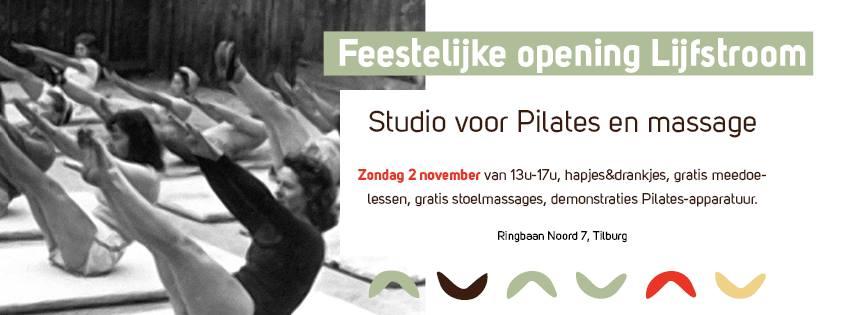 Lijfstroom Pilates en massage Tilburg opening banner Zondag 2 november opent Lijfstroom haar deuren